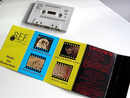 BEF 'Music for Stowaways' UK cassette insert (front)