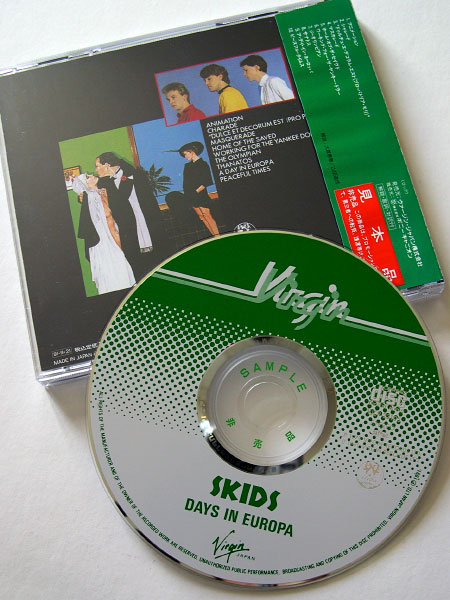 Skids: 'Days In Europa' Japanese promo CD back cover and CD label design