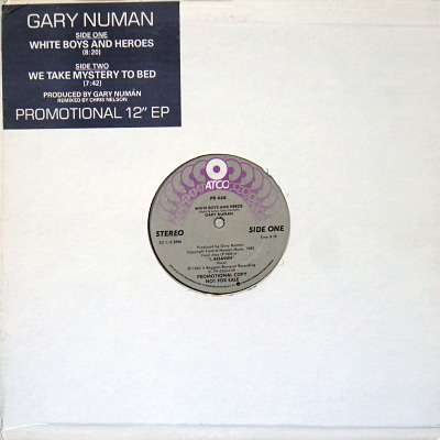 'White Boys and Heroes' USA Promo 12 inch single