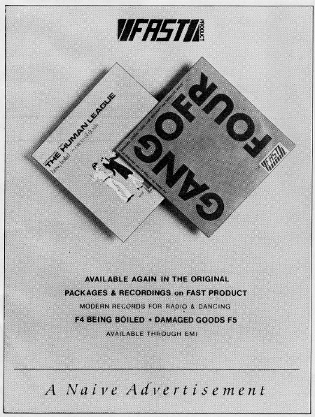 Smash Hits advert for the 1980 Fast Product re-issue singles
