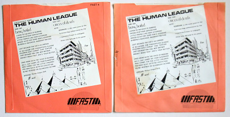 Rear sleeve designs side by side: 1980 re-issue (left) and (rather tatty condition) 1978 original (right)