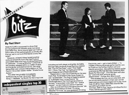Drinking Electricity 'Smash Hits' Independent Bitz report November 1980