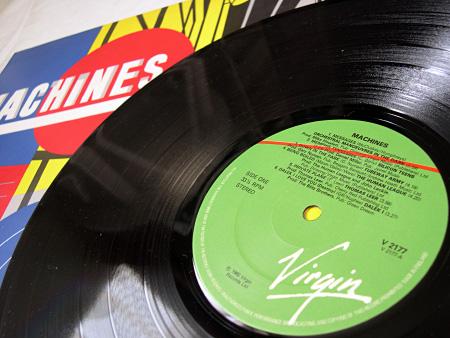 'Machines' compilation album A side label design