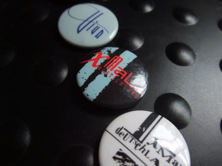 Xmal Deutschland badge design - second 4AD era ('Tocsin') logo design