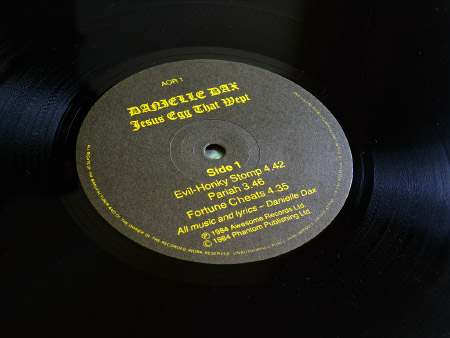 Danielle Dax 'Jesus Egg That Wept' UK Mini-Album label design Side A