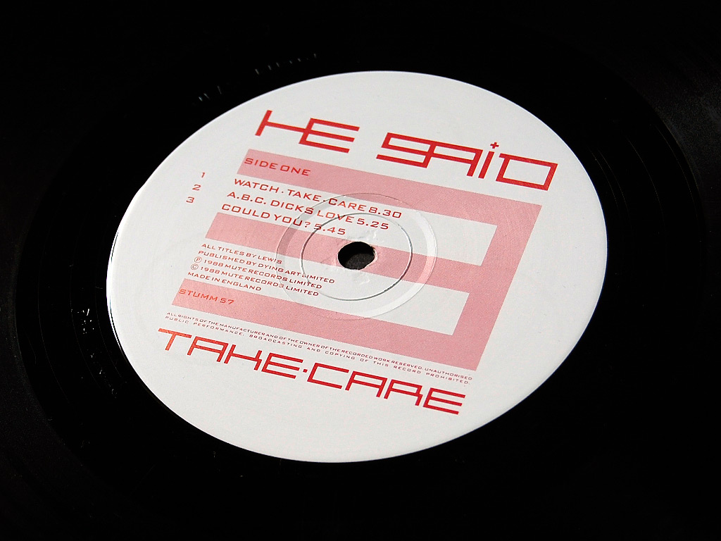 He Said 'Take Care' LP label design side A