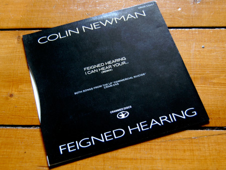 Colin Newman 'Feigned Hearing' 7 inch single rear cover design