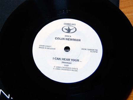 Colin Newman 'Feigned Hearing' 7 inch single B side label design