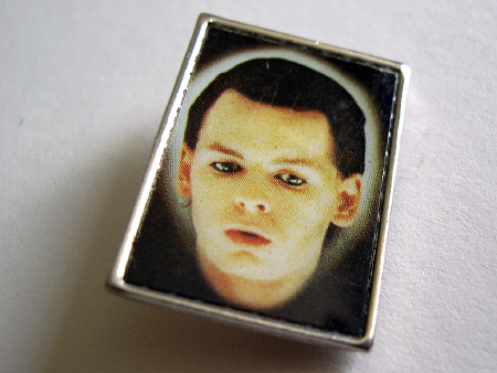 Gary Numan metal 'Telekon' lapel badge design