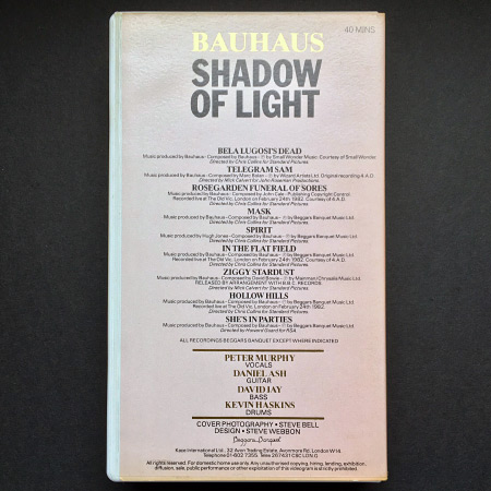 Bauhaus 'Shadow of Light' rear cover design