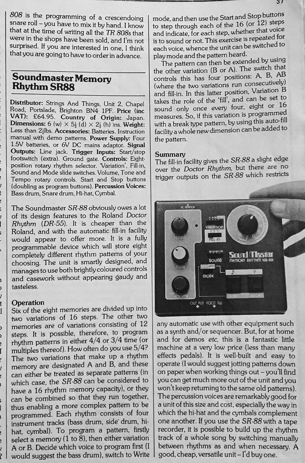 Soundmaster Memory Rhythm SR-88 review scan