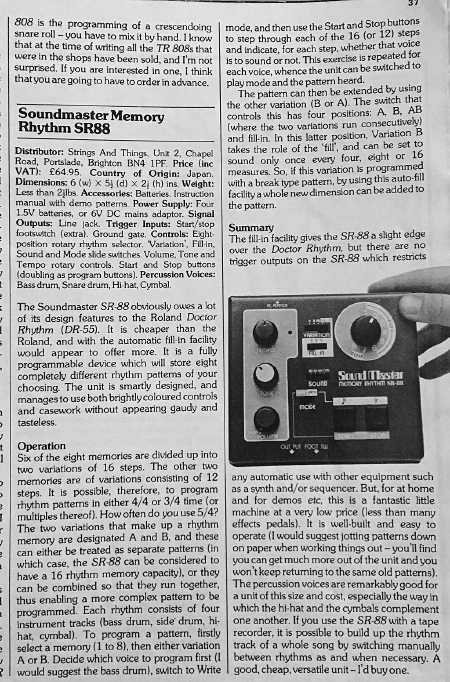 Soundmaster Memory Rhythm SR-88 review scan