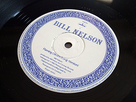"Bill Nelson - Flaming Desire 12"" Side A label design"