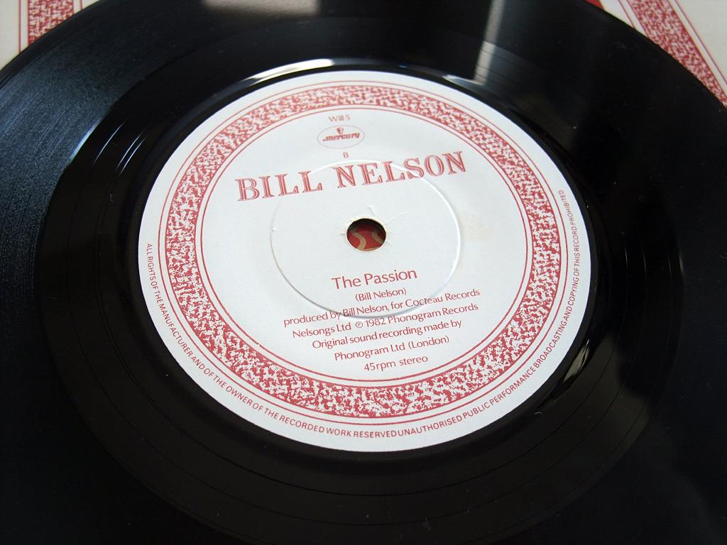 "Bill Nelson - Flaming Desire 7"" Side A label design"
