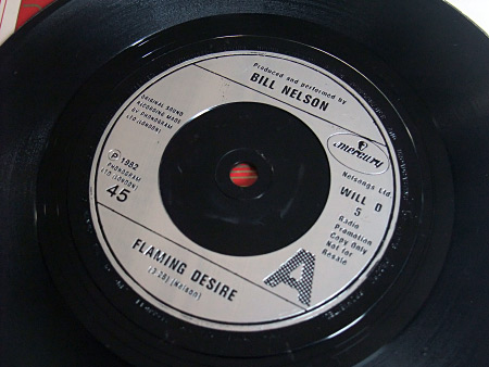 "Bill Nelson 'Flaming Desire' UK Promo 7"" label"