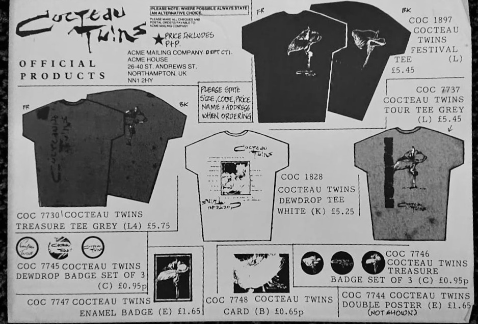 Cocteau Twins December 1984 UK tour merchandise flyer