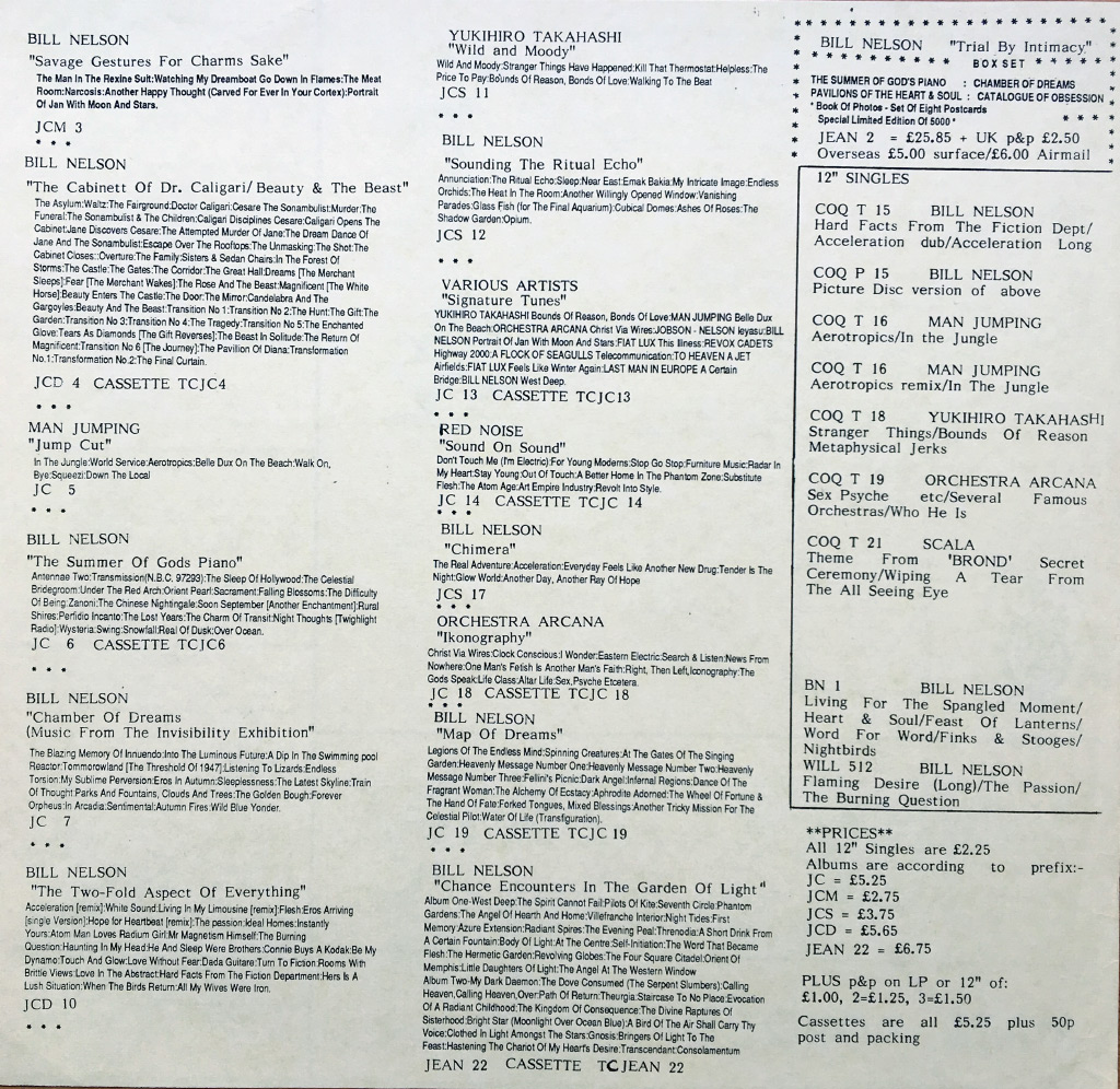 'Acquitted by Mirrors' Bill Nelson fan club merchandise sheet showing the JEAN 6 box set offer (lower right)