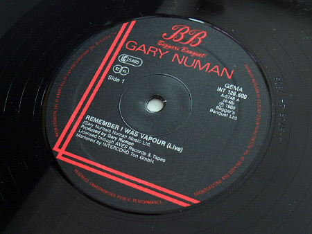 "Gary Numan - 'Remember I Was Vapour' (Live) West German 12"" label side A"