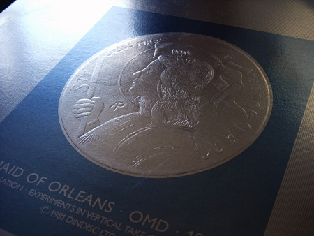 'Maid of Orleans' front cover design 2 - 'coin' sleeve version - detail