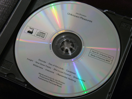 Joy Division 'Unknown Pleasures' original UK CD disc label.