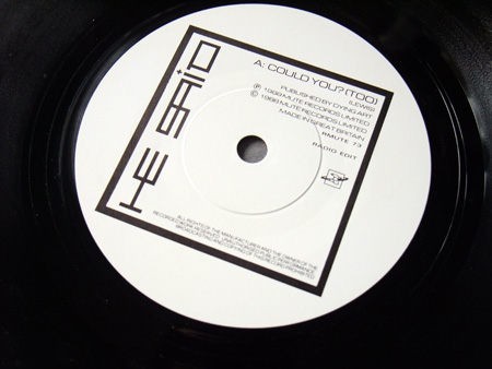 He Said - Could You? - UK 7 inch Radio Edit' Promo single A side label design.