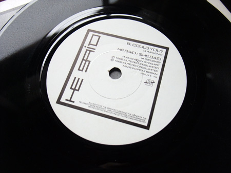 He Said - Could You? - UK 7 inch 'Radio Edit' Promo single B side label design.