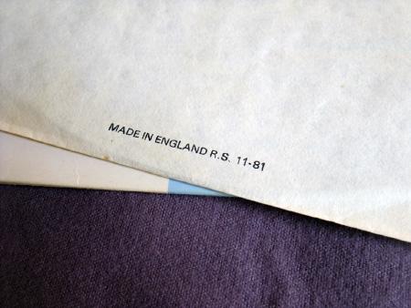 New Order - Ceremony - 1981 UK 12 inch version 2 original inner bag manufacturing detail.