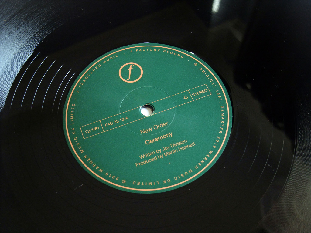 New Order - Ceremony - 2019 UK 12 inch version 1 re-issue label side A.