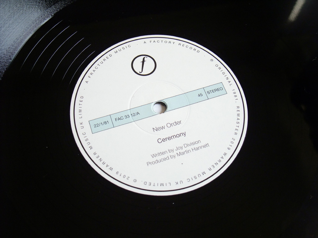 New Order - Ceremony - 2019 UK 12 inch version 2 re-issue label side A.