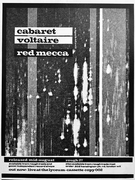 Cabaret Voltaire 'Red Mecca' press advert from The Face magazine, August 1981, designed by Neville Brody