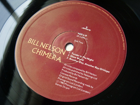 Bill Nelson - 'Chimera' UK mini album label side 2 design