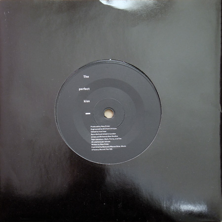 "New Order - The Perfect Kiss UK 7"" front sleeve and label design."