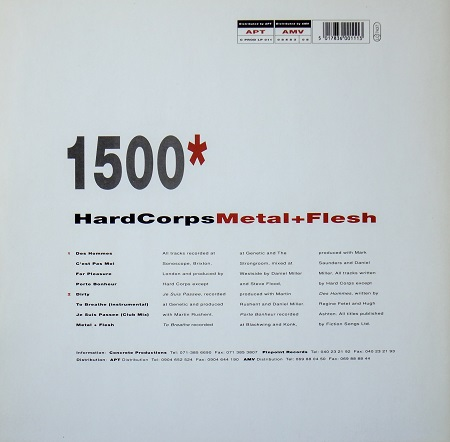 Hard Corps 'Metal and Flesh' 1991 LP - rear cover design
