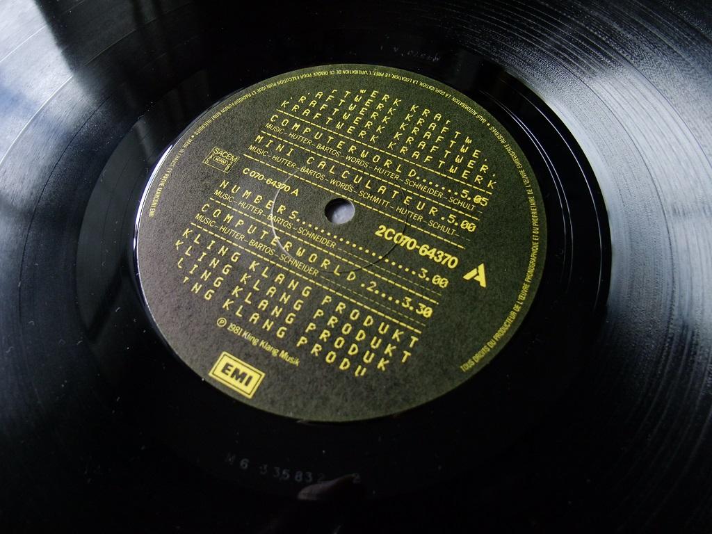 Kraftwerk - 'Computer World' Pathe-Marconi EMI French vinyl LP, 1981 - label side 1.