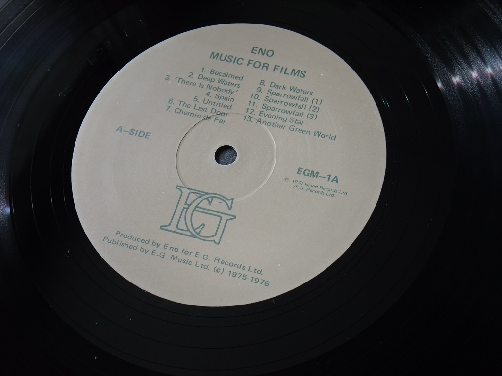 Brian Eno 'Music for Films' original 1976 promotional 'Director's Edition' - label side A