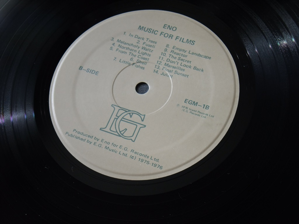 Brian Eno 'Music for Films' original 1976 promotional 'Director's Edition' - label side B