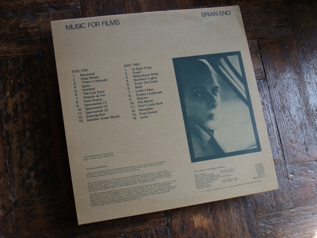 Brian Eno 'Music for Films' original 1976 promotional 'Director's Edition' - rear cover