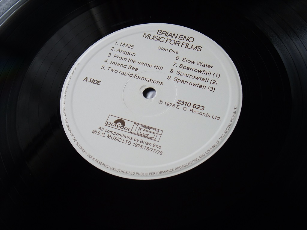 Brian Eno 'Music for Films' 1978 UK EG Records release - label side A