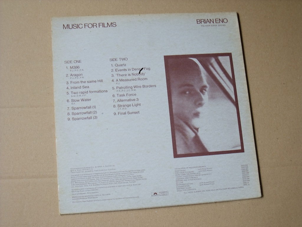Brian Eno 'Music for Films' 1978 UK EG Records release - rear cover