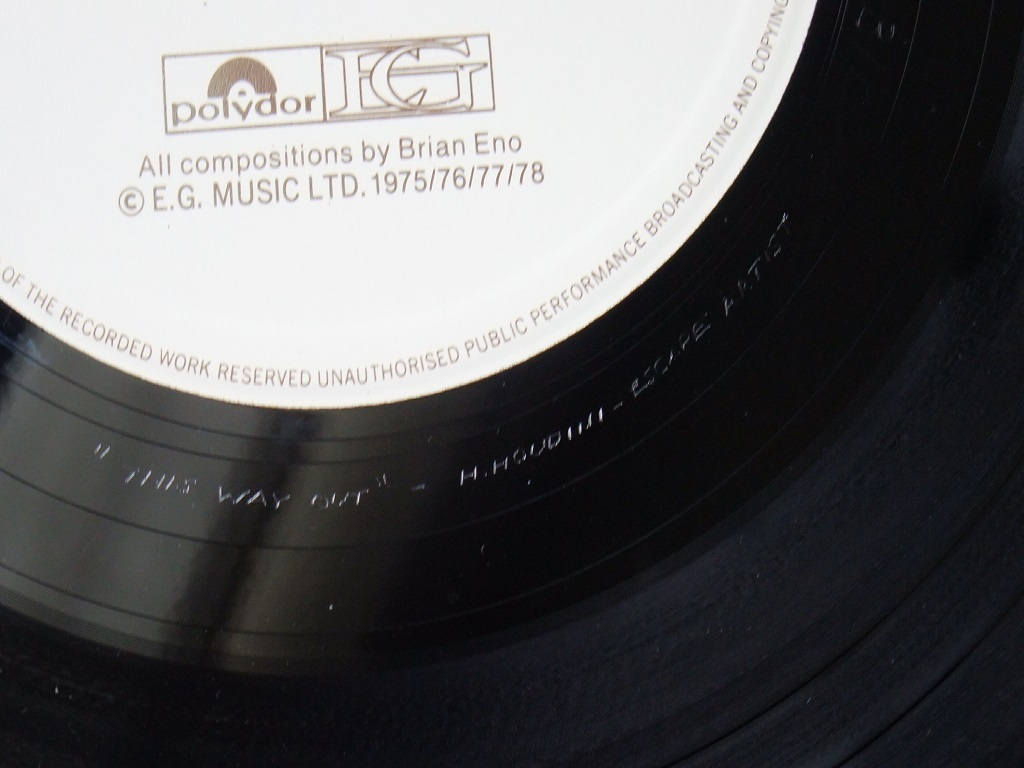 Brian Eno 'Music for Films' 1978 UK EG Records release - run out groove inscription