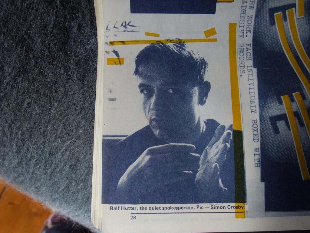 Fast Forward 008/009: Annual Report cassette magazine - booklet spread 14 - Kraftwerk's Ralf Hutter interviewed (detail)