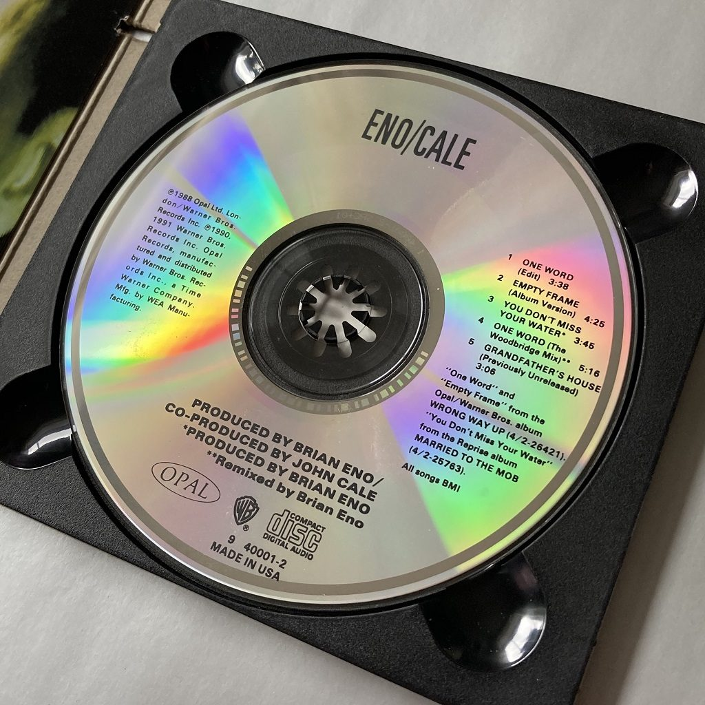 Brian Eno and John Cale - 'One Word' USA CD single disc label design