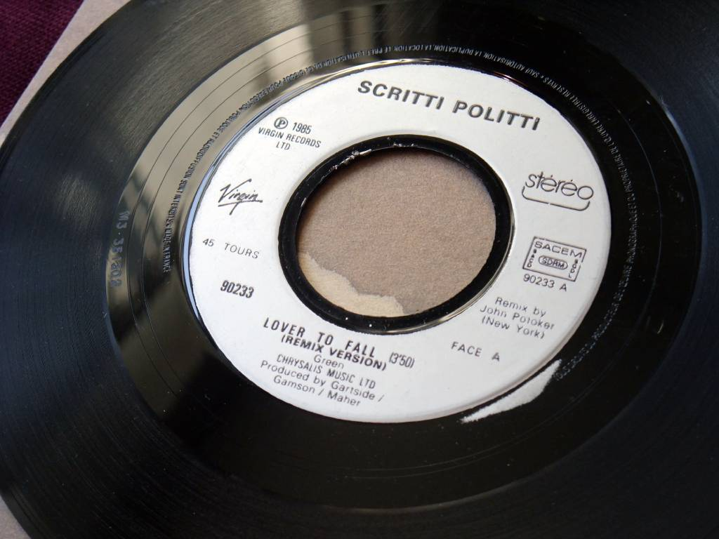 "Scritti Politti - 'Lover To Fall' (Remix Version) French 7"" single label side A"