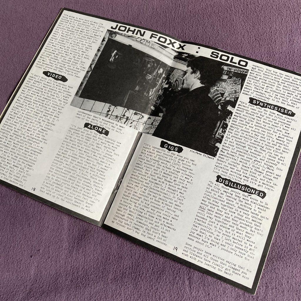 Ultravox 'Past, Present and Future' fanzine spread 2 - John Foxx : Solo