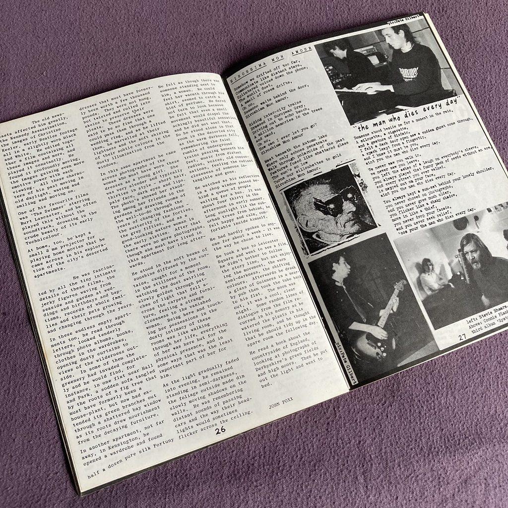Ultravox 'Past, Present and Future' fanzine spread 3 - 'The Quiet Man' story excerpt