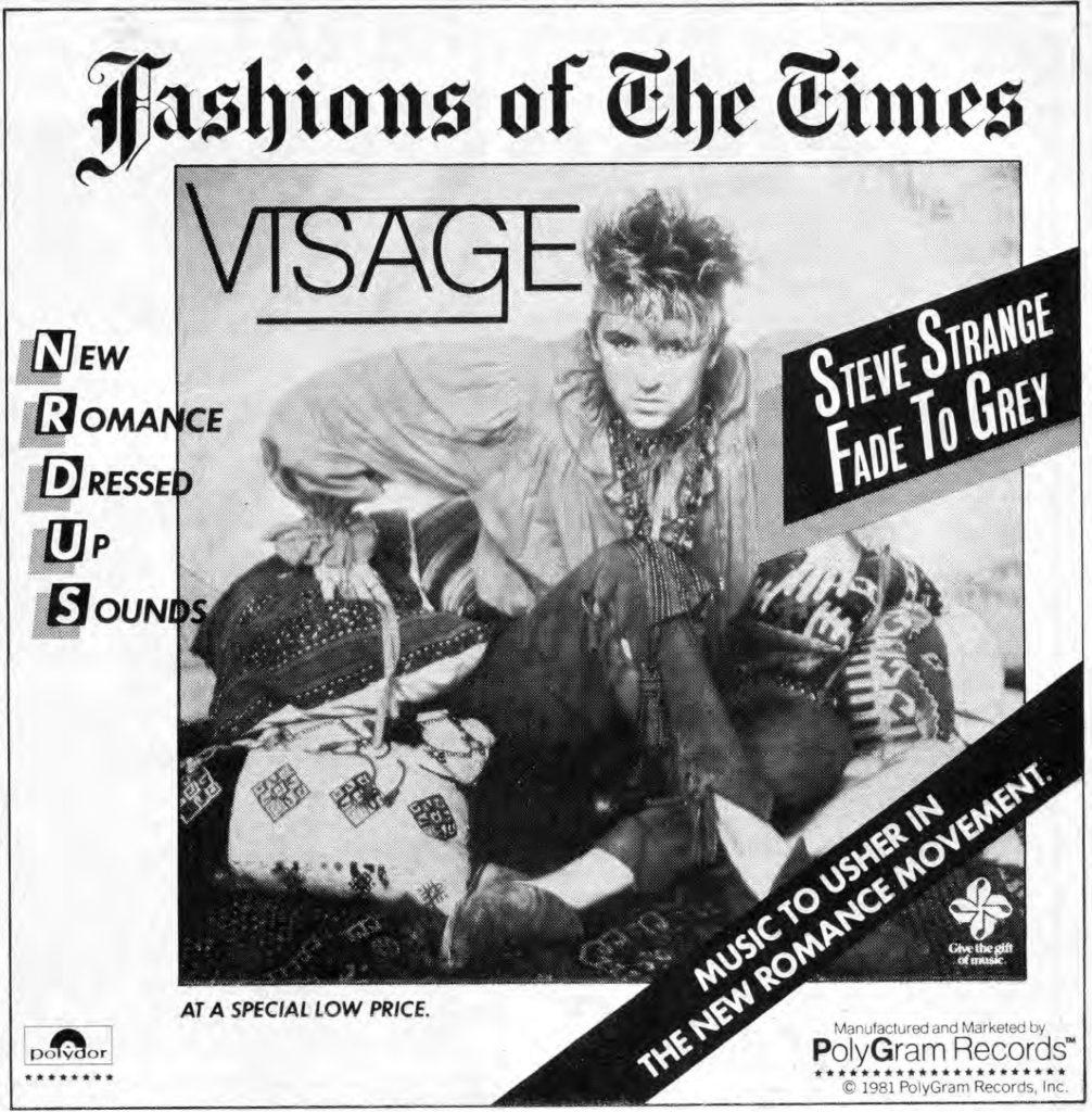 Visage advert, Trouser Press magazine, September 1981 issue