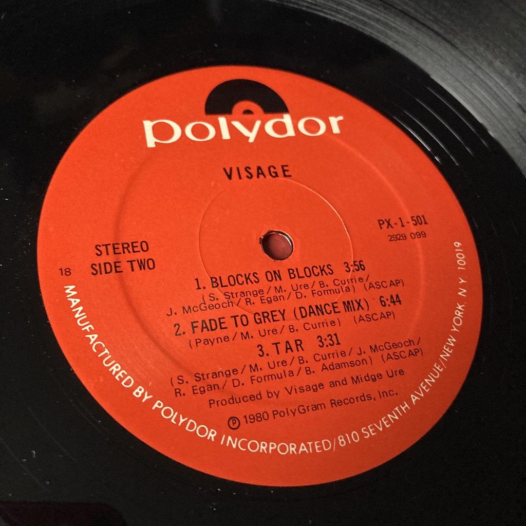 Visage - 'Visage' US Mini-Album label side B