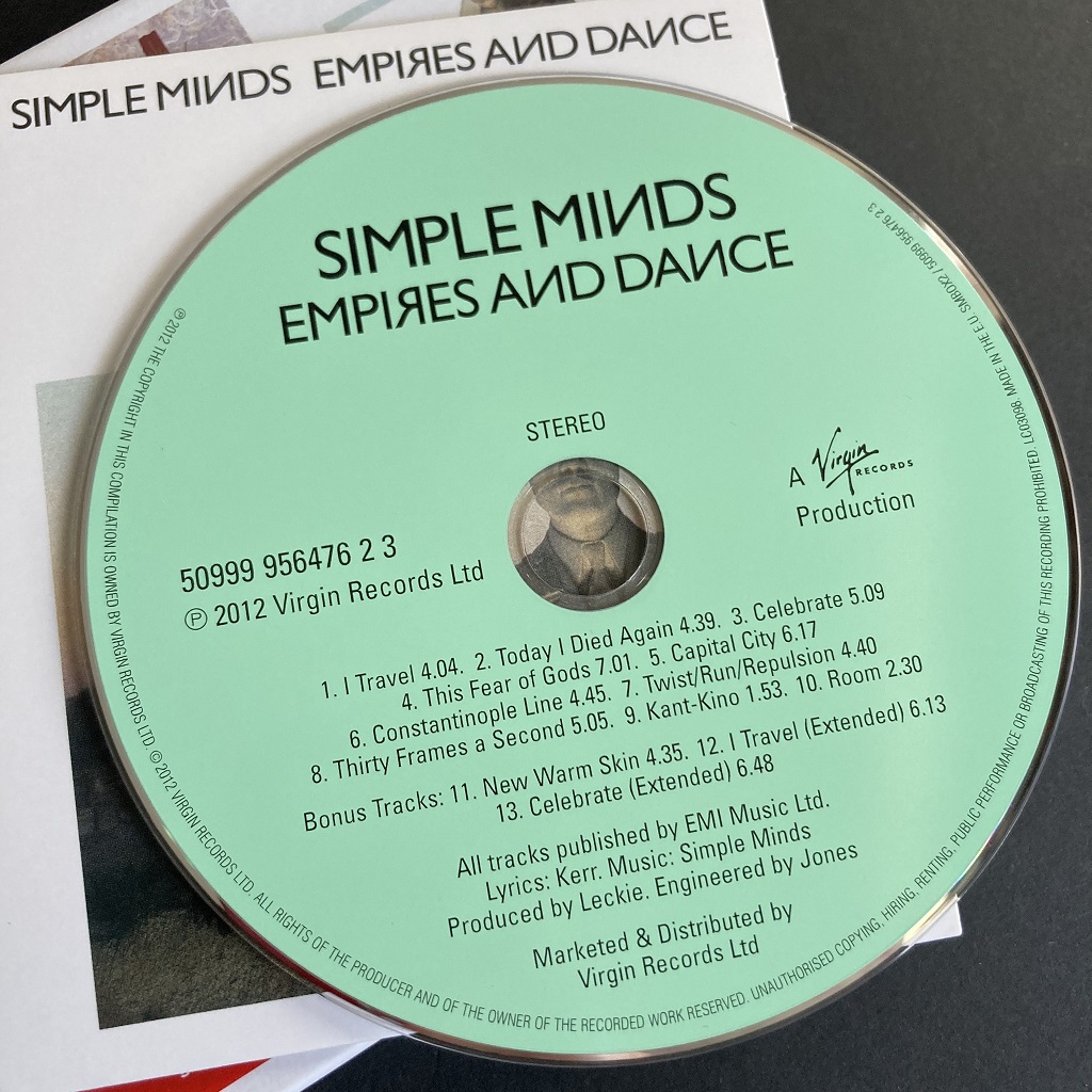 Simple Minds 'Empires and Dance' 'X5' CD Box Set edition - disc label