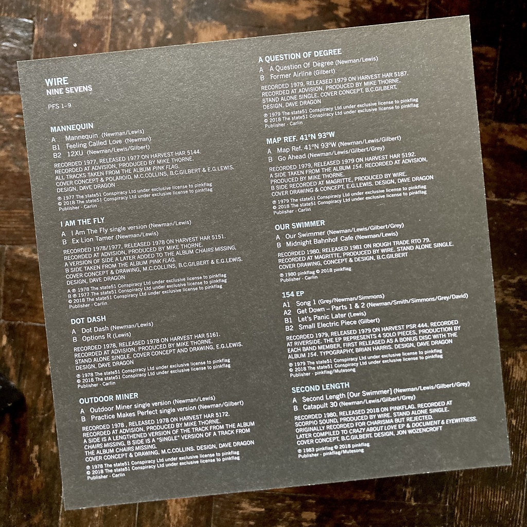 Wire - 'Nine Sevens' box set information card - rear