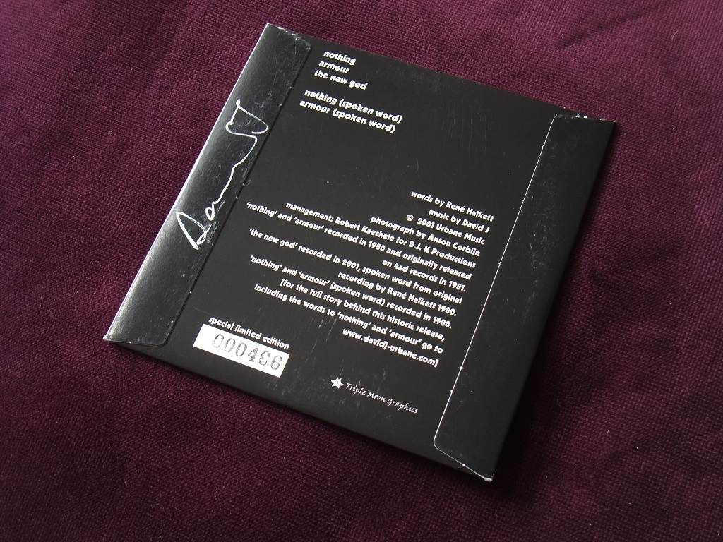 Rene Halkett and David Jay - 'Nothing' / 'Armour' 20th Anniversary CD rear cover